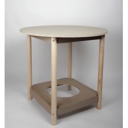 mesacamilla de madera redonda 90cm diámetro